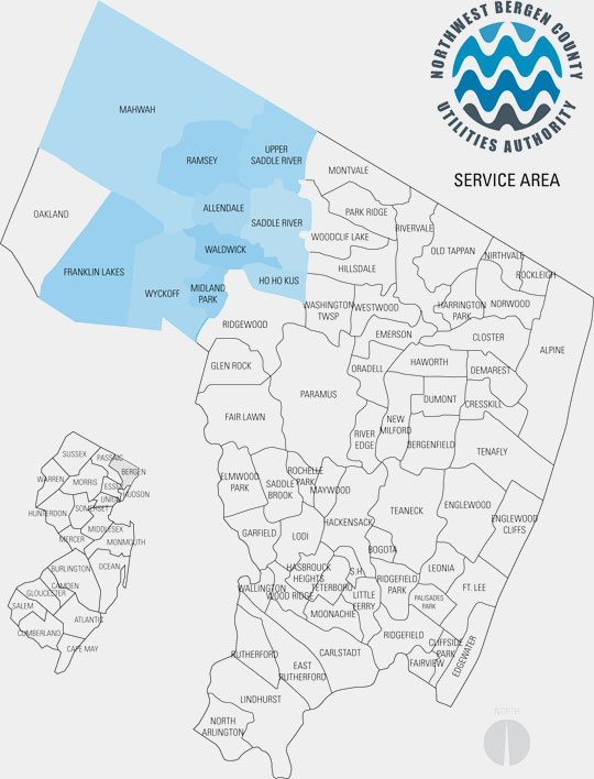 Northwest Bergen County Utilities Authority Service Area Map - Map of bergen county nj